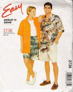 Misses', Men's & Teen Boys Shirt Shorts Sewing Pattern Size S-M McCall's 2736 UNCUT