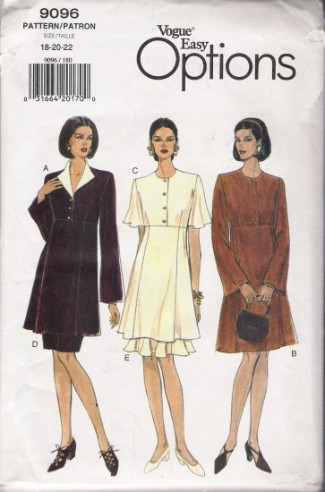 Misses' Dress Tunic Skirt Sewing Pattern Size 18-22 Vogue 9096 UNCUT