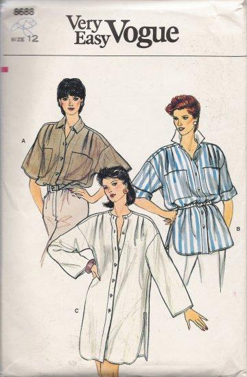 Vintage Sewing Pattern Misses' Top Tunic Dress Size 12 Vogue 8688 UNCUT