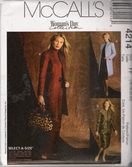 Misses' Jacket Pants Skirt Sewing Pattern Size 16-22 McCall's 4214 UNCUT