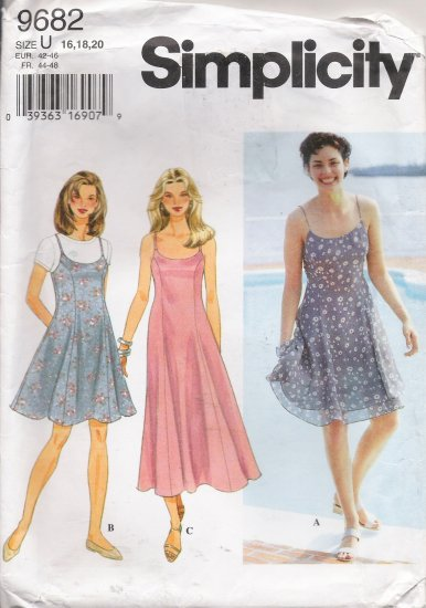 Misses' Dress Or Jumper Sewing Pattern Size 16-20 Simplicity 9682 UNCUT