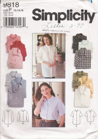 Misses' Shirt Sewing Pattern Size 12-16 Simplicity 9818 UNCUT