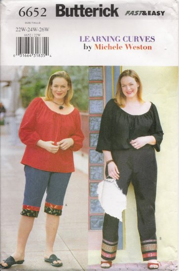 Women's Top & Pants Plus Size Sewing Pattern Size 22-26 Butterick 6652 UNCUT