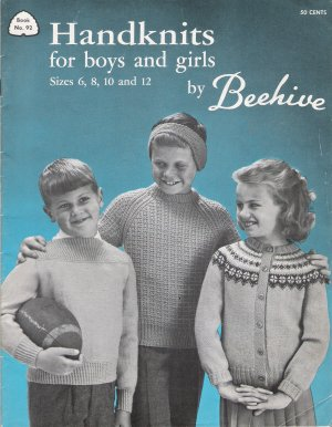 Handknits For Boys & Girls Vintage Knitting Pattern Book by Beehive