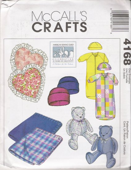 Blanket Pillow Teddy Bear Baby Bunting Cap Hat Sewing Pattern McCall's 4168 UNCUT