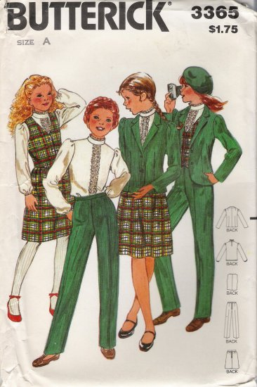 Vintage Sewing Pattern Girls' Jacket Vest Blouse Skirt Pants Size 7-10 Butterick 3365 UNCUT