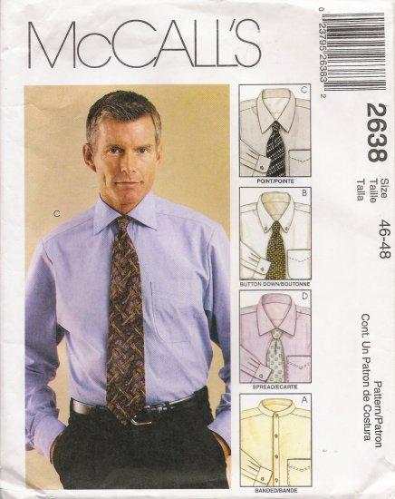 Men's Shirt Sewing Pattern Size 46-48 McCall's 2638 UNCUT