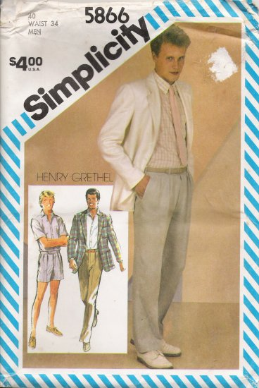 Vintage Sewing Pattern Men's Pants Shorts Shirt Jacket Size 40 Simplicity 5866 UNCUT