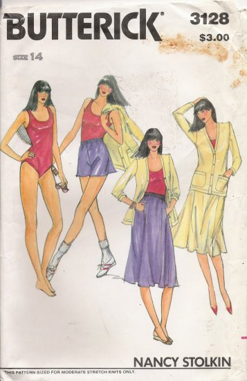Vintage Sewing Pattern Misses' Jacket Bodysuit Skirt Shorts Size 14 Butterick 3128 UNCUT