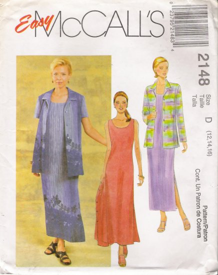 Misses' Dress & Jacket Sewing Pattern Size 12-16 McCall's 2148 UNCUT