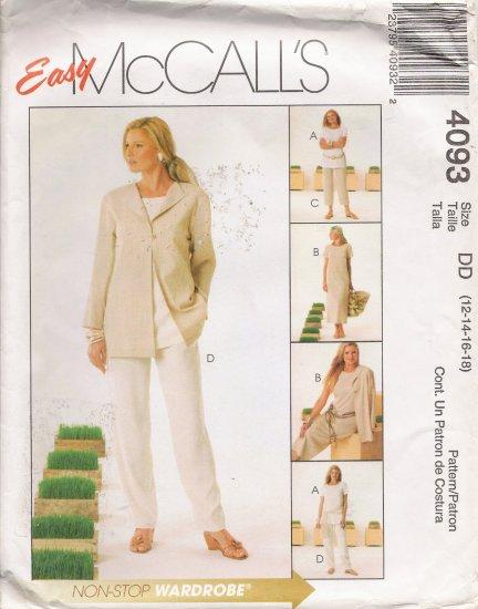 Misses' Jacket Tunic Dress Pants Sewing Pattern Size 12-18 McCall's 4093 UNCUT