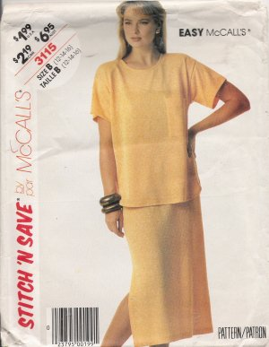 Misses' Top & Skirt Sewing Pattern Size 12-16 McCall's 3115 UNCUT