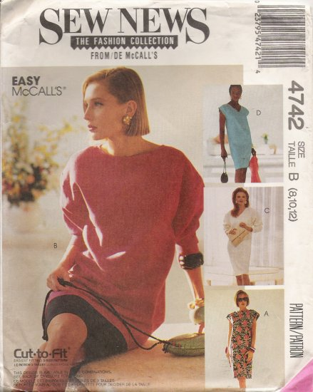 Misses' One & Two-Piece Dress Sewing Pattern Size 8-12 McCall's 4742 UNCUT