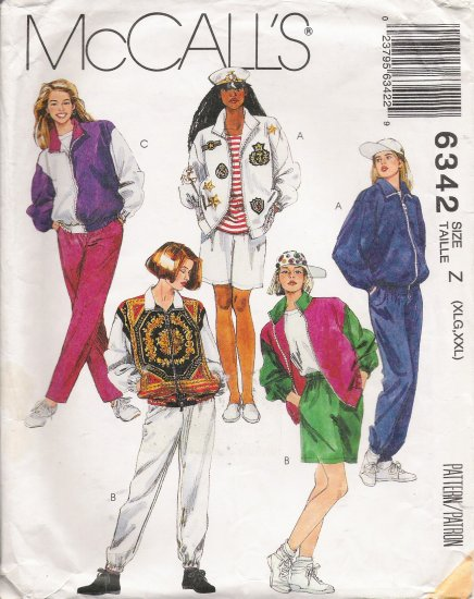 Misses' Jacket Pants Shorts Sewing Pattern Size XL-XXL McCall's 6342 UNCUT