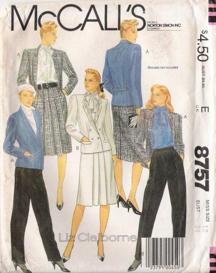 Misses' Jacket Skirt Pants Sewing Pattern Size 12 McCall's 8757 UNCUT
