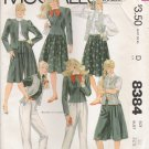 Misses' & Junior Petite Jacket Vest Pants Skirt Culottes Sewing Pattern Size 10 McCall's 8384 UNCUT