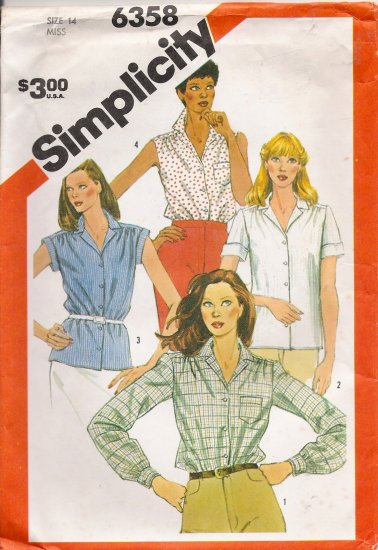 Misses' Shirt Sewing Pattern Size 14 Simplicity 6358 UNCUT