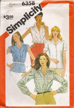 Misses' Shirt Sewing Pattern Size 14 Simplicity 6358 UNCUT