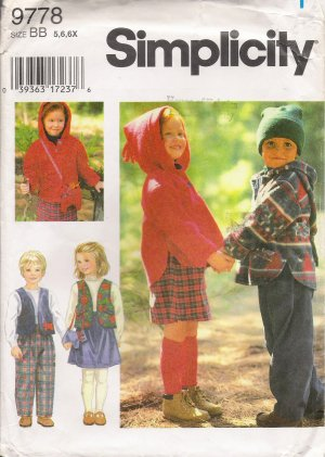 Child's Separates Sewing Pattern Size 5-6x Simplicity 9778 UNCUT
