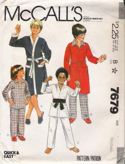 Vintage Sewing Pattern Boys' & Teen Boys' Robe Jacket Pajamas Size 8-10 McCall's 7679 UNCUT