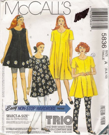 Maternity Dress Tunic Leggings Headband Sewing Pattern Size 6-10 McCall's 5836 UNCUT