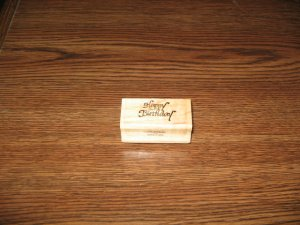 Happy Birthday Wood Mounted Rubber Stamp by Crystal Stamps