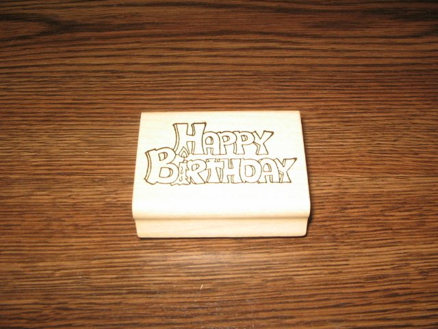 Happy Birthday Wood Mounted Rubber Stamp by Holly Berry House