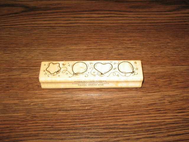 Balloon Border Wood Mounted Rubber Stamp by Comotion