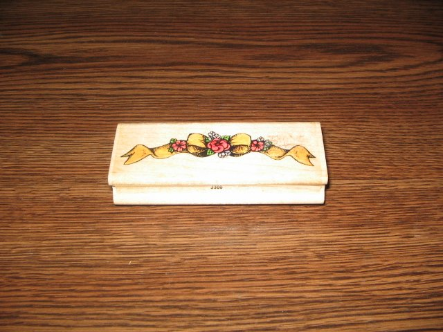 Floral Bow Border Wood Mounted Rubber Stamp by Stamp Affair
