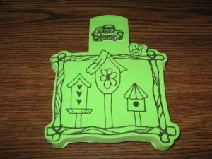 Birdhouse Trio Foam Mounted Rubber Stamp For Fabric by Anita's
