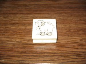 Lamb Wood Mounted Rubber Stamp by Hooks Lines & Inkers