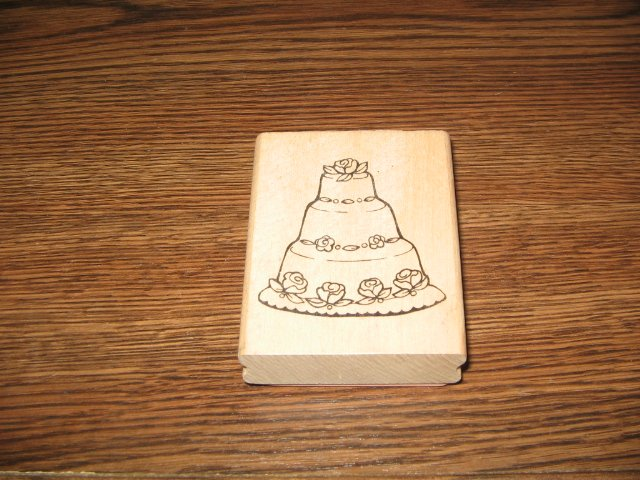 Wedding Cake Wood Mounted Rubber Stamp