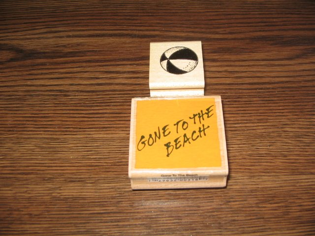 Gone To The Beach & Beach Ball Wood Mounted Rubber Stamps Lot Of 2
