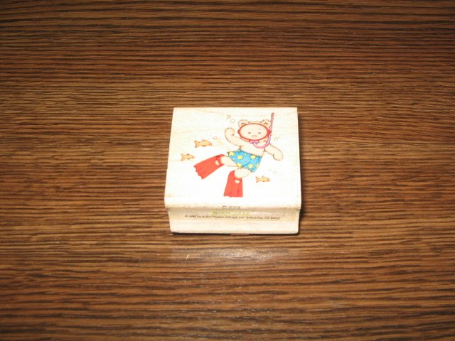 Snorkling Teddy Bear Wood Mounted Rubber Stamp by Hero Arts