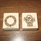 Wreath & Flower Basket Wood Mounted Rubber Stamp Lot Of 2 by Stampin Up