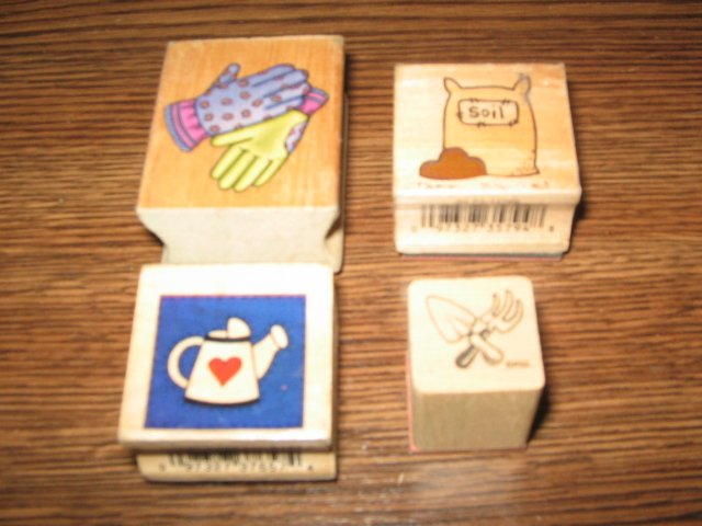 Garden Wood Mounted Rubber Stamp Lot Of 4