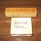 Special Times & Wonderful Time Wood Mounted Rubber Stamps Lot Of 2