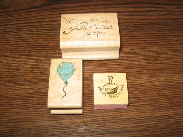 You're Invited, Balloon, Cupcake Wood Mounted Rubber Stamp Lot Of 3