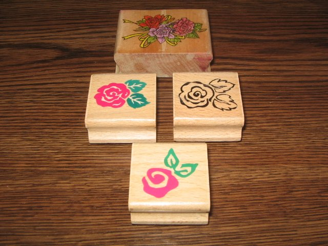 Rose Wood Mounted Rubber Stamp Lot Of 4