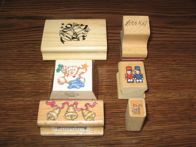 Christmas Wood Mounted Rubber Stamp Lot Of 6