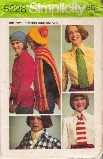 Vintage Crochet Pattern Beret Scarf Tie Dickey Simplicity 5228