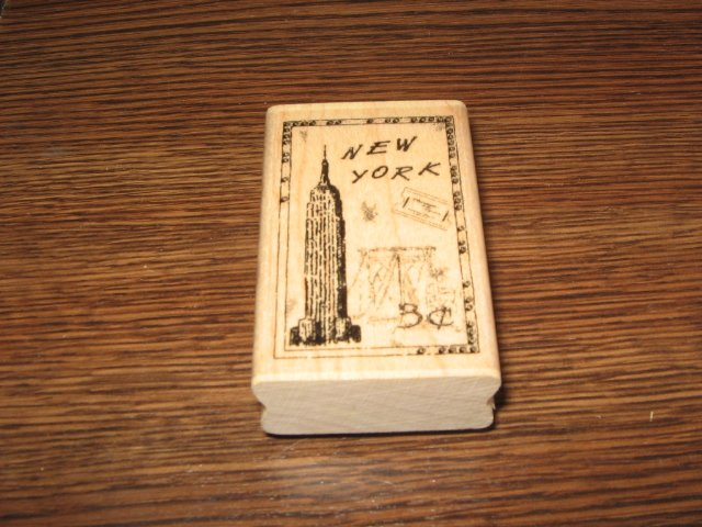 New York Faux Postage Wood Mounted Rubber Stamp by Stampabilities