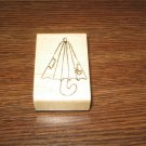 Umbrella Wood Mounted Rubber Stamp