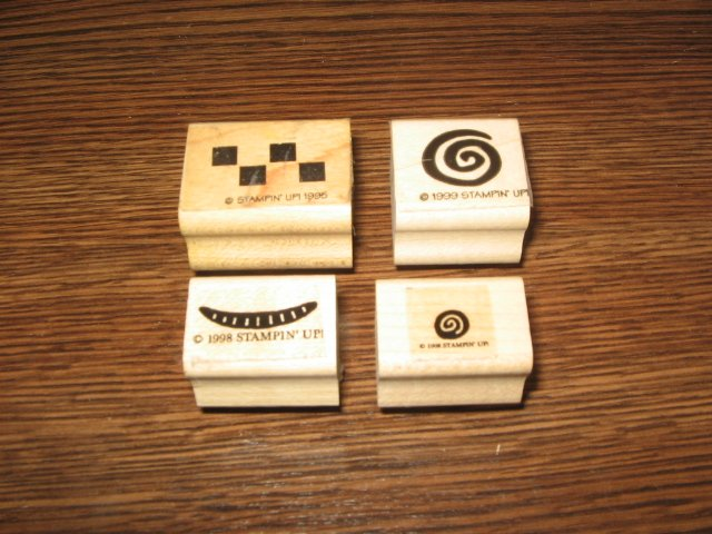 Collage Elements Wood Mounted Rubber Stamp Lot Of 4 by Stampin Up