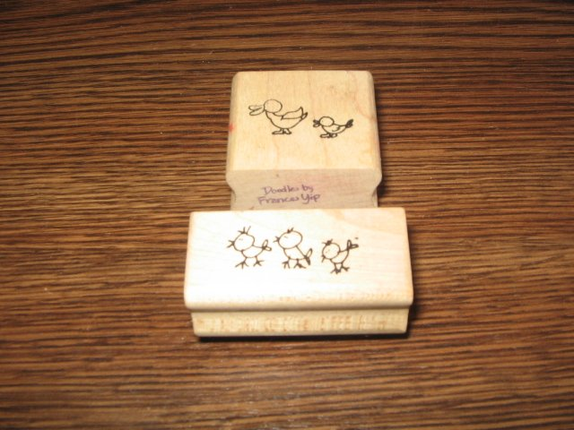 Ducks & Chicks Wood Mounted Rubber Stamp Lot Of 2 by Stampourri