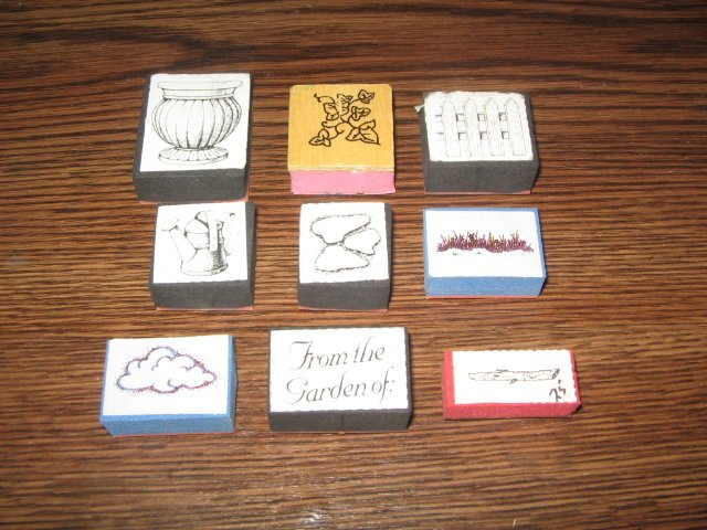 Garden Foam Mounted Rubber Stamp Lot Of 9