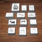 Assorted Foam Mounted Rubber Stamps Lot Of 12