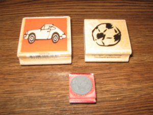 Car & Sports Balls Wood Mounted Rubber Stamp Lot Of 3