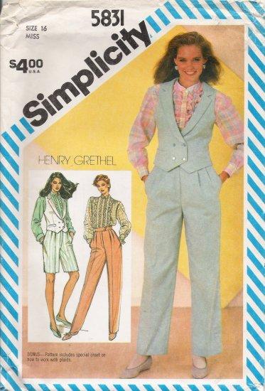 Misses' Pants Shorts Blouse Vest Sewing Pattern Size 16 Simplicity 5831 UNCUT