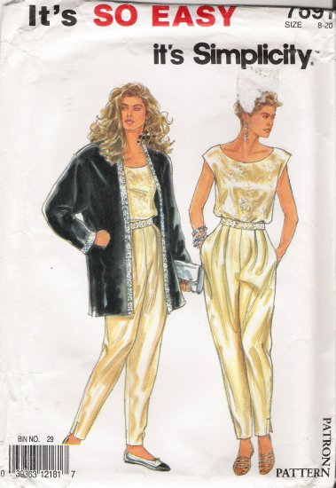 Misses' Jacket Top Pants Sewing Pattern Size 8-20 Simplicity 7691 UNCUT